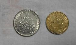 Francia pénz - érme (franc / frank és centimes, 1974)