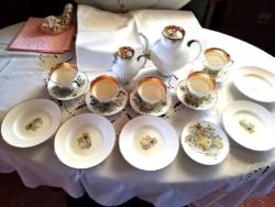 Vitrin állapotú Lomonosov porcelán reggeliző készlet, capuccinós, kávés és süteményes készlet