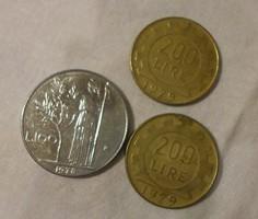 Olasz pénz - érme, 100 és 200 líra (lire, 1978-1979)
