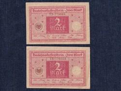 Szép sorszám közeli német 2 márka 1920/id 6356/