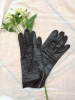 Finom bőr vintage kesztyű fekete, béleletlen megkímélt állapotban