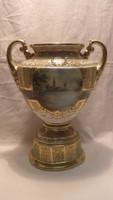 Pompázatos aranyban gazdagon díszes festményes antik porcelán váza