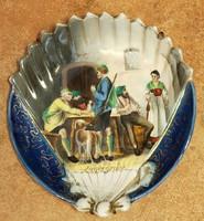 Kézzel festett, 19.sz-i porcelán,vadász üdvözlés