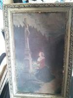 Antik festmény ökörszemes biedermeier keretben