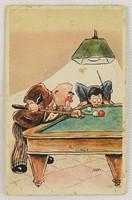0V372 Cecami olasz snookeres rajzos képeslap