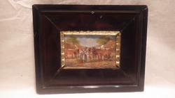 Falusi utca életkép olaj-fa jelzett miniatűr nagyon jó kis festmény