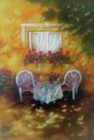 Diófa árnyékában  - kortárs festmény, szignózott