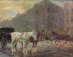 János Viski: evening budapest conflissal c. Painting