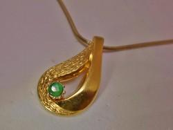 Szépséges régi valódi smaragdköves aranyozott ezüstnyaklánc