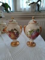 2 db angol porcelán fedeles tároló, váza