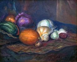"""Kolozsváry Pál (1921- ) """" Csendélet zöldségekkel """""""