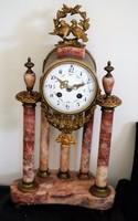 Francia vörös márvány kandalló óra 19. század vége