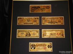 1800-as ANTIK 24 Kt ARANY USA DOLLÁR, AMERIKA LUXUS ARANY BANKJEGY SZETT, EXKLUZÍV AJÁNDÉK