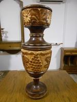 Padlóváza kézműves fa faragott szőlőmintás 60*22 cm