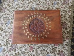 Antik faragott, réz berakásos fa doboz - fadoboz