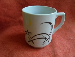 Drasche porcelán bögre ritka art deco cica dekorral