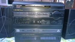 Retro japán CROWN mini stereo music.rádió,lemezjátszó,magnó 2 hangfallal