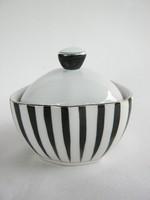 Hollóházi porcelán art deco fekete-fehér csíkos bonbonier cukortartó