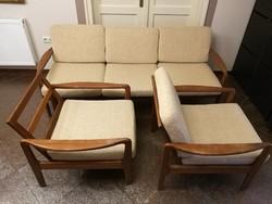 Skandináv design nappali szett, garnitúra, kanapé és 2 db fotel