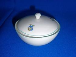 Nagyon régi Hollóházi porcelán lapos cukortartó virág mintával