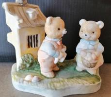 Húsvéti dekoráció, biszkvit porcelán locsolkodó maci