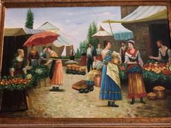 A piac ,Antik szignózott festmèny, gyüjtői hagyaték
