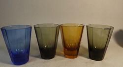 Antik Moser vagy Moser jellegű  cseh színes  poharak 4 db  Ritka !!!!
