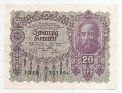 20 Korona 1922 Osztrák - Magyar Bank