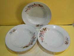 H.M.Vásárhely Oblat virágos tányérok együtt 3 db.