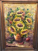 Elképesztő festmény,napraforgók vázában