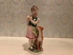 Herendi porcelán lány kutyával