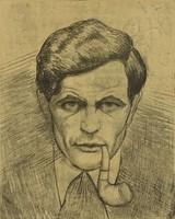 0V367 Góth Imre : Férfi portré pipával 1922