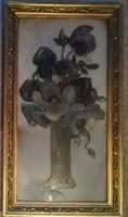 Gyönyörű üvegre festett virág csendélet párban! Hibátlan.