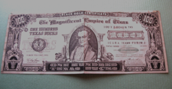 Különlegesség! - 100 Bucks - 1952 Black Gold Certificate The Empire of Texas Hundred Texas Bucks