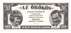 10 Dollár Az örökös Szinházi pénz 1963?