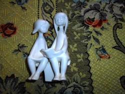 Hollóházi kettős porcelán figura-gyermekpár