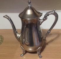 Teás, tejes kanna, barokk, alpakka, ezüstözött ?! 25 x 24 cm