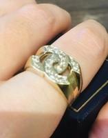 Coco Chanel designer arany gyűrű brillekkel
