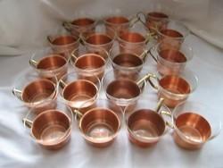 Hőálló teás, bólés poharak rézfülű réz tartóban