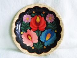 1. Régi, kézzel gazdagon festett falitányér  24 cm