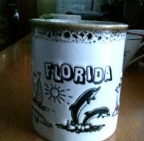 Fekete mintás kerámia csésze,  Florida 2