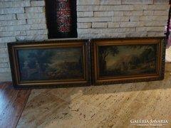 Jelzett olaj-vászon festmény párban , terasz látkép