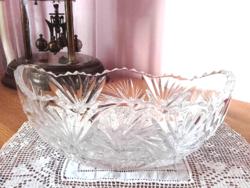 Antik csónak alakú üveg asztalközép, kínálótál