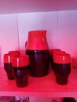 Jelzett kerámia boros készlet