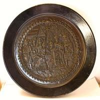 Betlehemi jelenetes festett réz/bronz falidísz, PS 1740 jelzés.