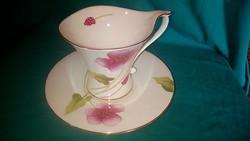 Különleges formájú, virág mintás régi jelzett porcelán kávés pohár, csésze kistányérra