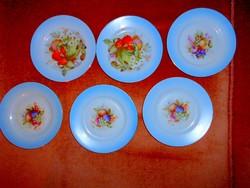 6 db gyümölcs mintás  M.Z   süteményes  tányér
