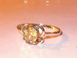 Citrin köves 925 ezüst - fehérarany Gyűrű 8.5-es