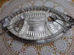 Ezüstözött kínáló 4 részes üveg betéttel