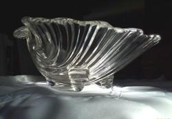 Kagyló alakú, kristály üveg kínáló tál, asztalközép